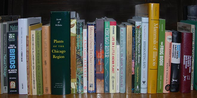 A sampling of nature related books from a volunteer's bookshelf.