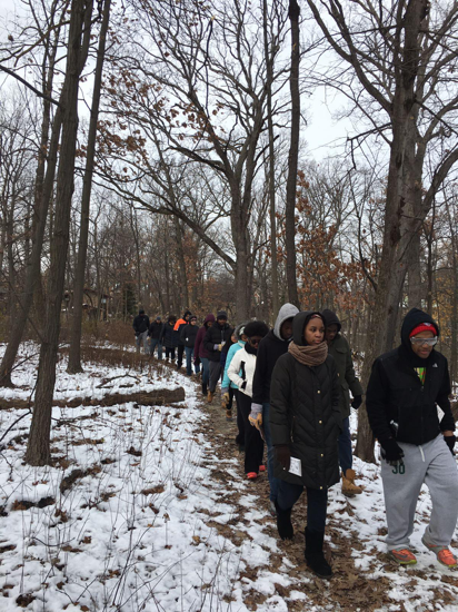 CPS students on a nature hike at Dan Ryan Woods during Senior Service Day. – 12/10/2016, © Maryam Salem
